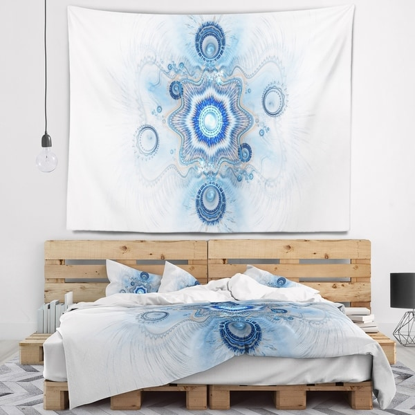 Designart 'Cabalistic Blue Star Flower' Abstract Wall Tapestry