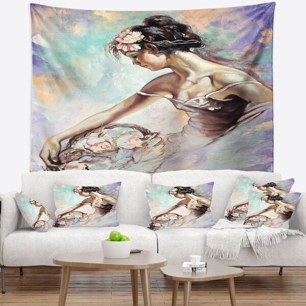 Designart 'Girl with Flower Bouquet' Floral Wall Tapestry