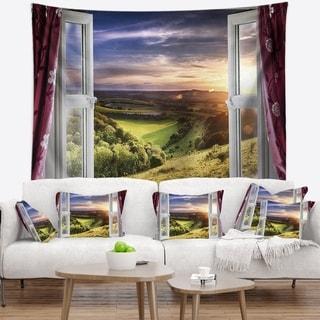 Designart 'Window View' Landscape Wall Tapestry