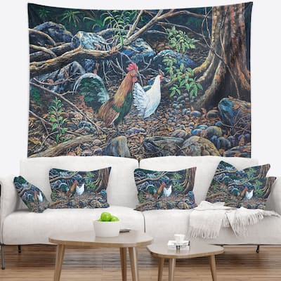 Designart 'Jungle Fowl in Forest' Landscape Wall Tapestry