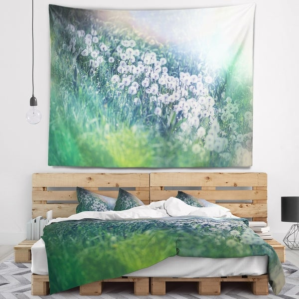 Designart 'Mountain Plain with Little Flowers' Flower Wall Tapestry