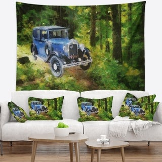 Designart 'Blue Vintage Car Oil Painting' Car Wall Tapestry (2 options available)