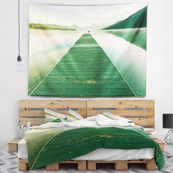 Designart 'Green Wood Pier At Glacier Park' Seashore Wall Tapestry