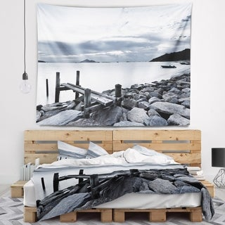 Designart 'Small Sea Bridge from Rocky Beach' Landscape Wall Tapestry
