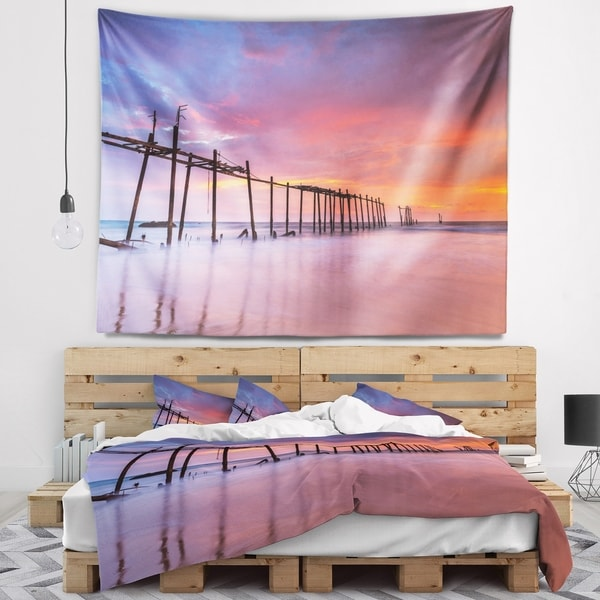 Designart 'Abandoned Wooden Pier at Sunset' Pier Seascape Wall Tapestry