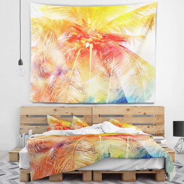 Designart 'Retro Palm Red Yellow Watercolor' Trees Painting Wall Tapestry