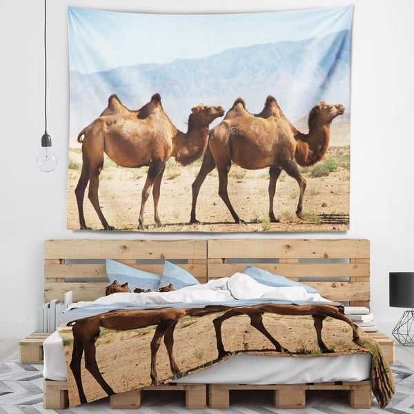 Designart 'Huge Camels on Tomb Ruins' African Wall Tapestry