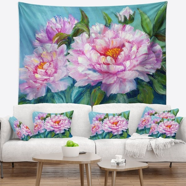 Designart 'Pink Peonies' Floral Wall Tapestry