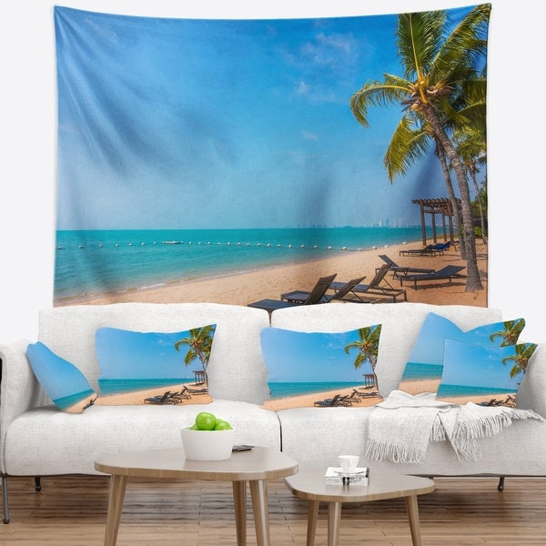 Designart 'Blue Beach with Palm Trees' Seashore Photo Wall Tapestry