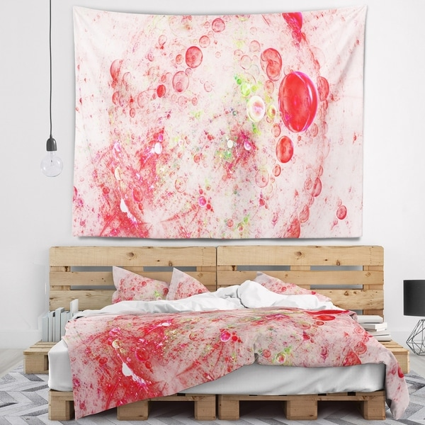 Designart 'Red Fractal Planet of Bubbles' Abstract Wall Tapestry