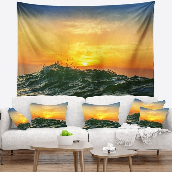 Designart 'Bright Sunlight and Glowing Waves' Beach Photo Wall Tapestry