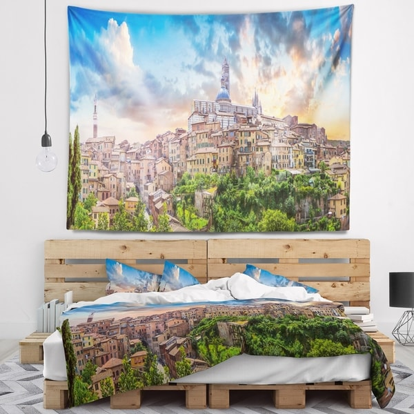 Designart 'Historic City of Siena Panoramic View' Landscape Wall Tapestry