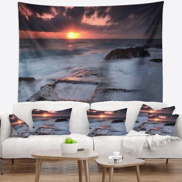 Designart 'Cable Shallow Coast Cascais Portugal' Seashore Wall Tapestry