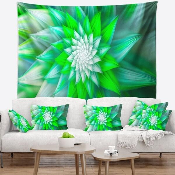Designart 'Large Green Alien Fractal Flower' Floral Wall Tapestry