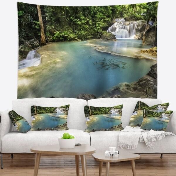 Designart 'Blue Erawan Waterfall' Landscape Photography Wall Tapestry