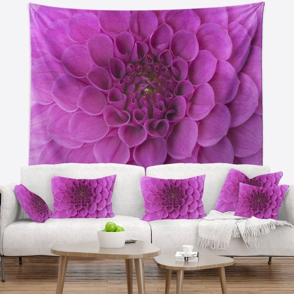 Designart 'Large Purple Flower and Petals' Floral Wall Tapestry