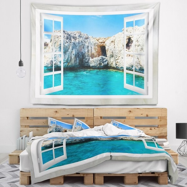 Designart 'Window Open to Sunny Summer Sea' Seashore Wall Tapestry