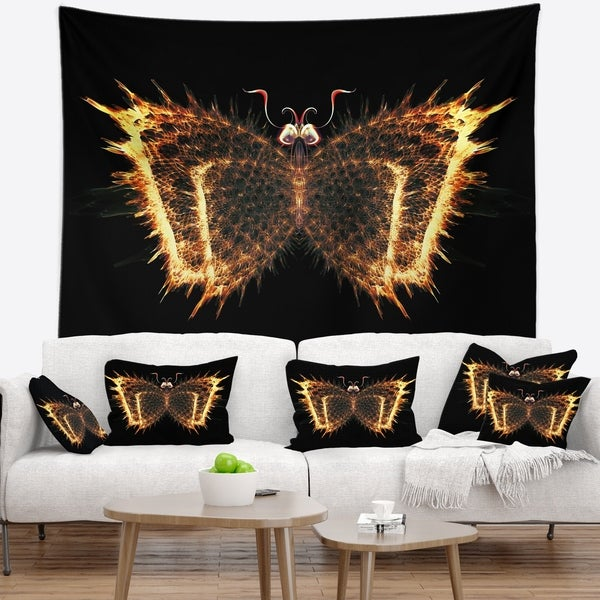 Designart 'Fire Fractal Butterfly in Dark' Abstract Wall Tapestry