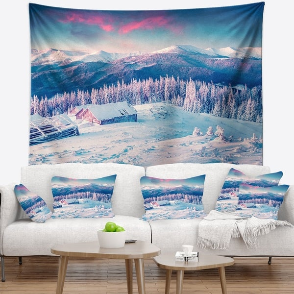 Designart 'Winter Morning in Carpathian' Landscape Photography Wall Tapestry