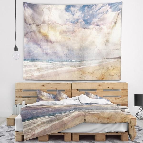 Designart 'Retro Ocean Watercolor' Seascape Painting Wall Tapestry