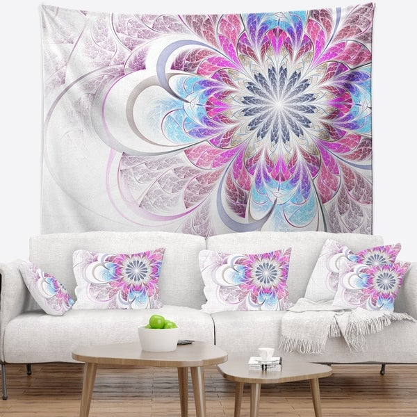 Designart 'Purple and Blue Large Flower Fractal' Floral Wall Tapestry