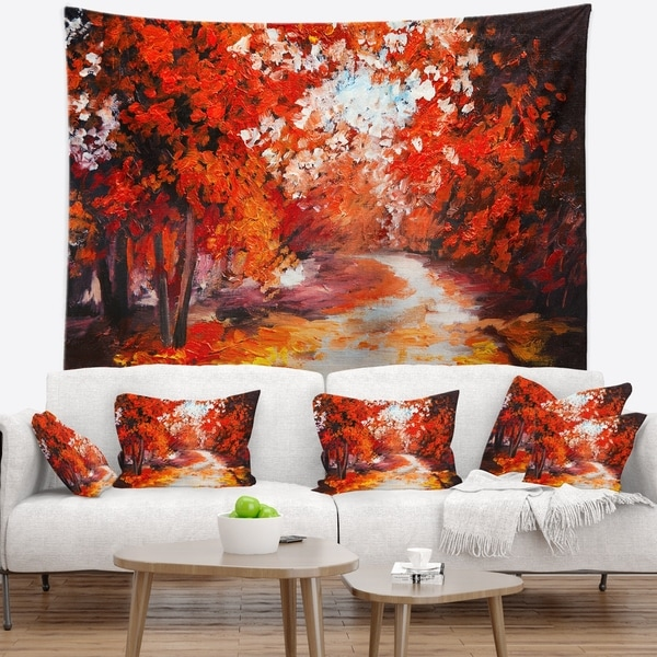 Designart 'Forest in the Fall' Landscape Wall Tapestry