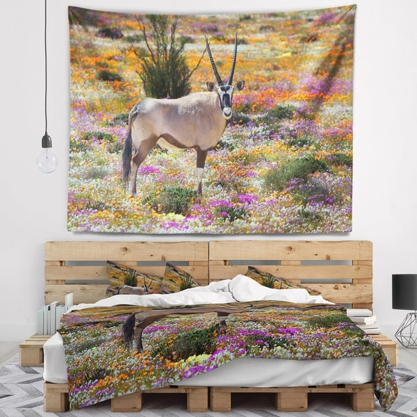 Designart 'Beautiful Oryx in Flower Field' African Wall Wall Tapestry
