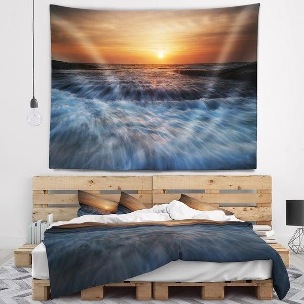 Designart 'Sunrise over Rushing White Waves' Modern Beach Wall Tapestry