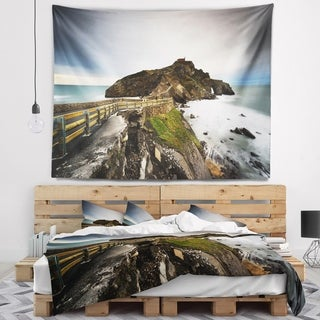 Designart 'Path to Cape and Chapel in Spain' Seashore Photo Wall Tapestry