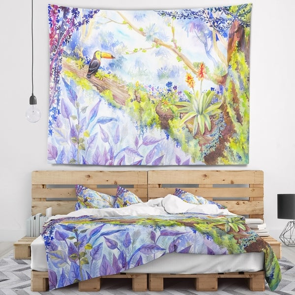 Designart 'Jungle with Bird Toucan on Tree' Landscape Wall Tapestry