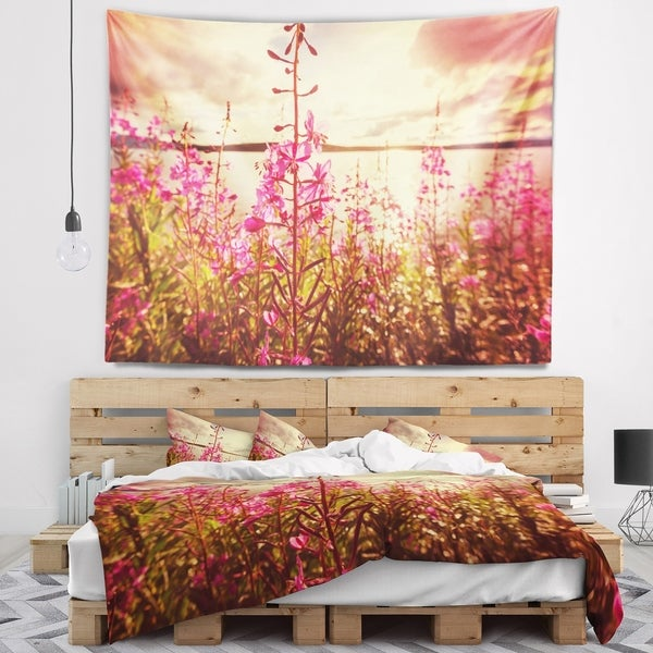Designart 'Meadow with Purple Flowers Alaska' Floral Wall Tapestry