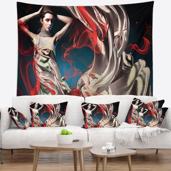 Designart 'Woman in Long Fairy Dress' Abstract Portrait Wall Tapestry