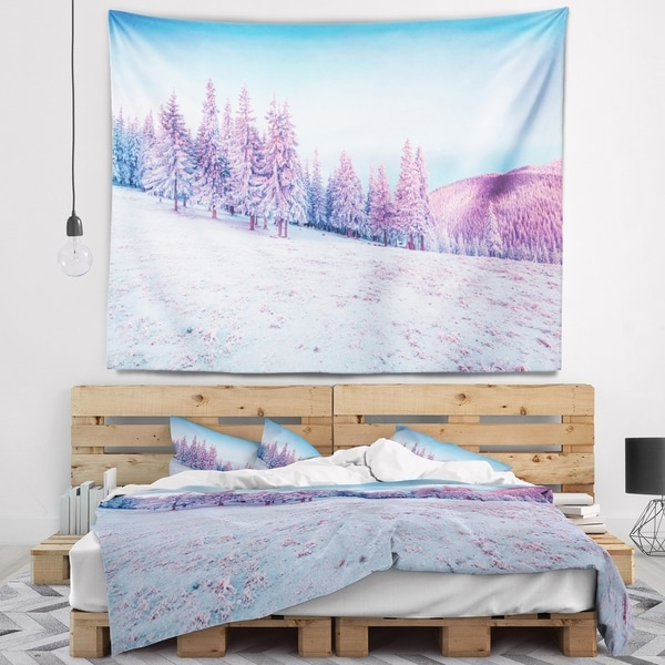 Designart 'Winter Sunrise in Mountains' Landscape Photography Wall Tapestry