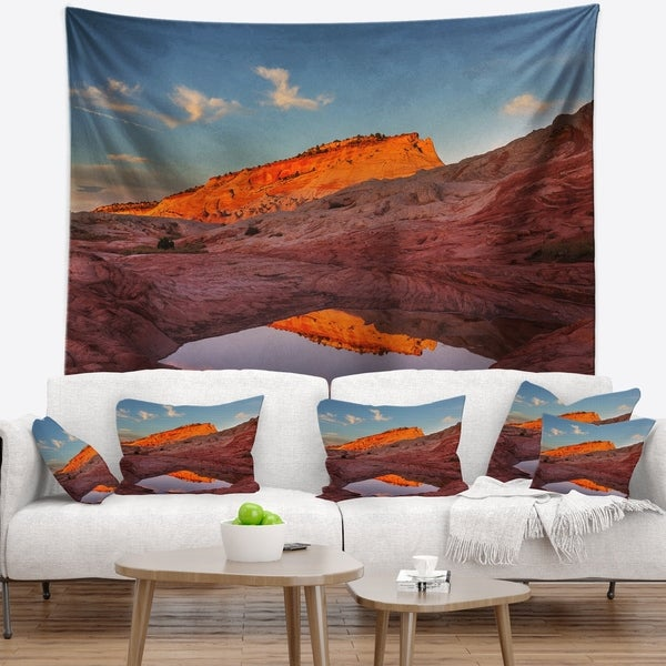 Designart 'Vermillion Cliffs Lake in Morning' Landscape Wall Tapestry