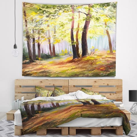 Designart 'Spring Forest with Sunlight' Landscape Wall Tapestry