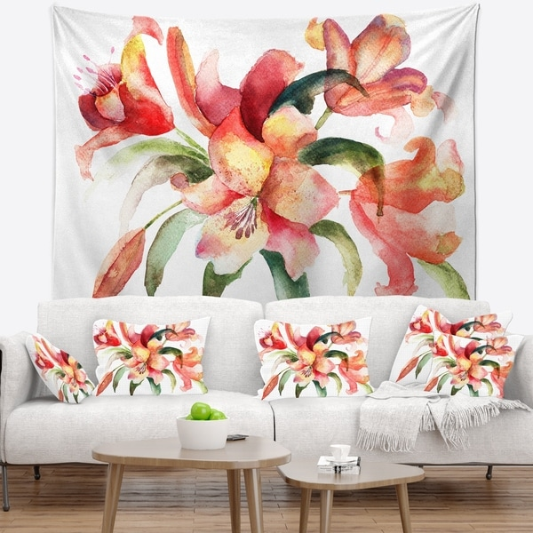 Designart 'Lily Flowers Watercolor Illustration' Floral Wall Tapestry