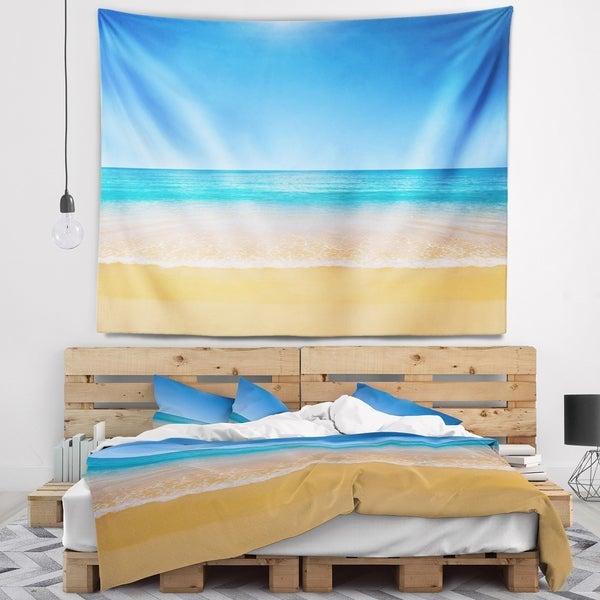 Designart 'Dark View of Tropical Beach' Seashore Photo Wall Tapestry