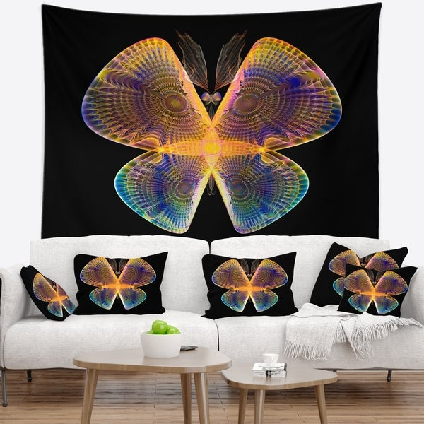 Designart 'Blue Yellow Fractal Butterfly in Dark' Abstract Wall Tapestry