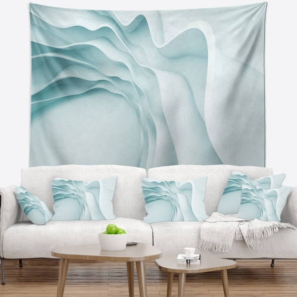 Designart 'Fractal Large Blue 3D Waves' Contemporary Wall Tapestry