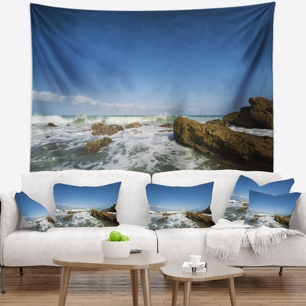 Designart 'Sea with White Waves' Seascape Wall Tapestry