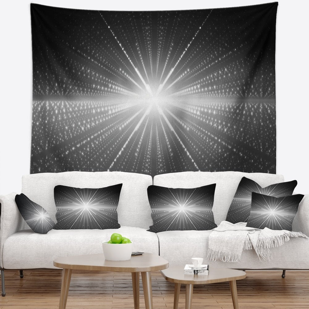 Designart Glowing Star In Cosmic Galaxy Abstract Wall Tapestry 80 In X 68 In Shefinds