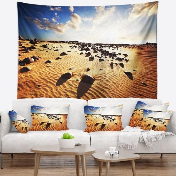 Designart 'Beautiful Rocky Sand Desert' African Landscape Wall Tapestry