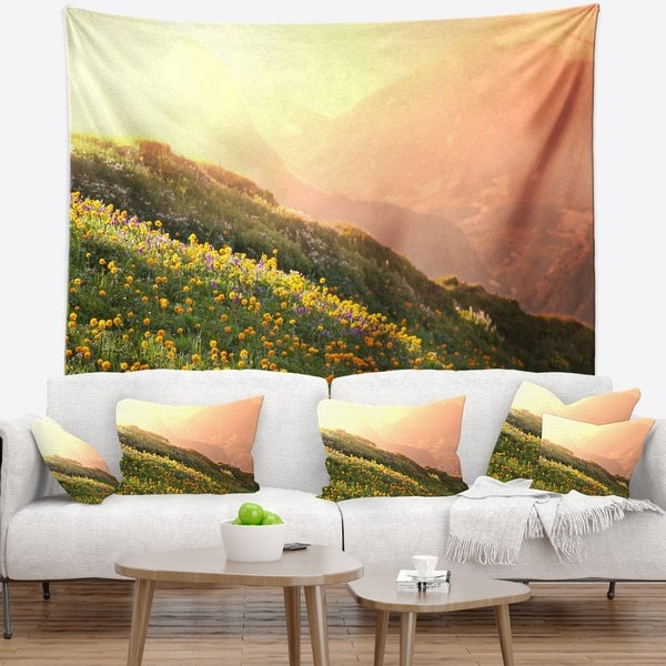 Designart 'Flowering Mountain Meadow View' Landscape Wall Tapestry