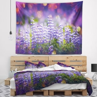 Designart 'Blue Lupin Flowers on Blue Background' Flower Wall Tapestry