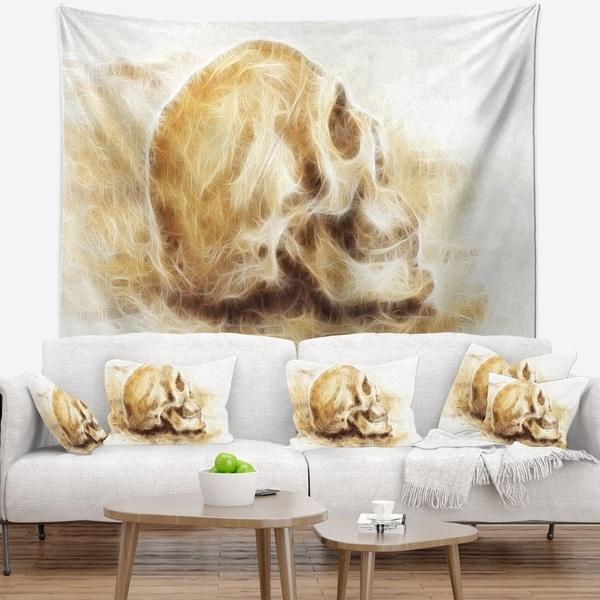 Designart 'Skull on Paper Fractal Effect' Contemporary Wall Tapestry