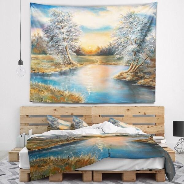 Designart 'Birches in Autumn Wood' Landscape Wall Tapestry