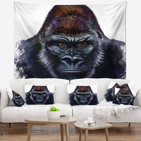 Designart 'Gorilla Male Illustration' Animal Wall Tapestry