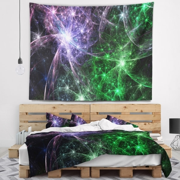 Designart 'Green Purple Colorful Fireworks' Abstract Wall Tapestry