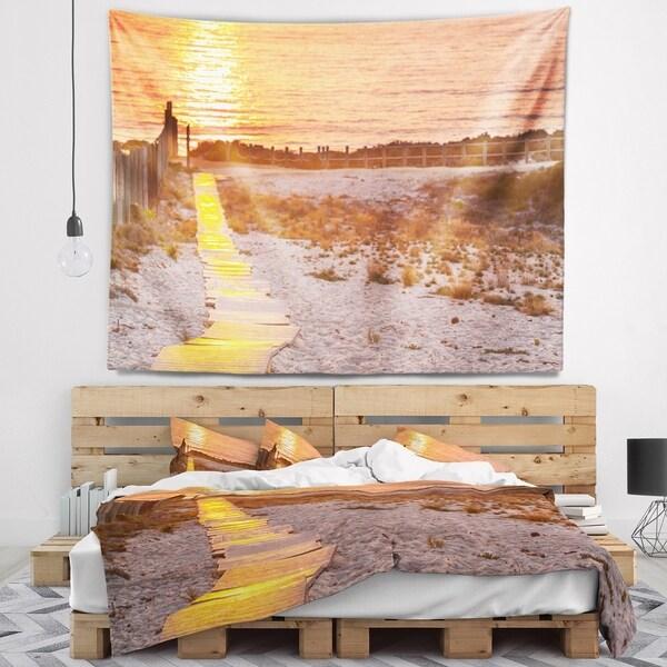 Designart 'Yellowish Boardwalk into Seashore' Bridge Wall Tapestry