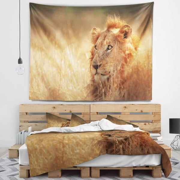 Designart 'Relaxing Lion in Grassland' African Wall Tapestry